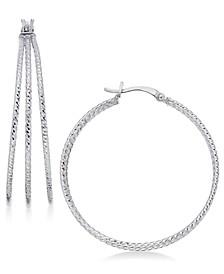 Textured Triple Hoop Earrings in Sterling Silver