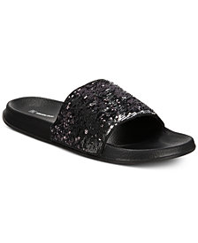 I.N.C. Men's Gemini Sequin Shower Slides, Created for Macy's