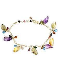 EFFY® Multi-Gemstone Dangle Bracelet (33-1/4 ct. t.w.) in 14k Gold