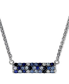 "EFFY® Sapphire Bar 16"" Pendant Necklace (9/10 ct. t.w.) in Sterling Silver"