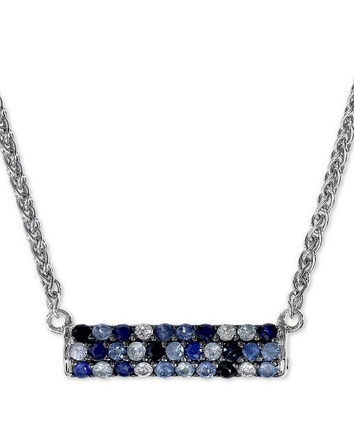 """EFFY Collection EFFY® Sapphire Bar 16"""" Pendant Necklace (9/10 ct. t.w.) in Sterling Silver"""