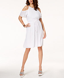 Thalia Sodi Cold-Shoulder Corset Gauze Dress, Created for Macy's