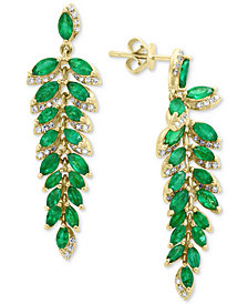 EFFY® Emerald (4-1/3 ct. t.w.) & Diamond (1/4 ct. t.w.) Drop Earrings in 14k Gold