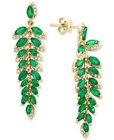 EFFY® Emerald (4-1/3 ct. t.w.) & Diamond (1/4 ct. t.w.) Drop Earrings in 14k Gold