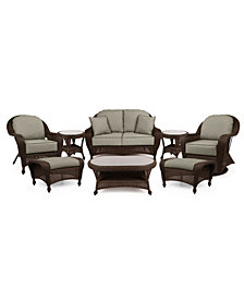 Monterey Outdoor Wicker 8-Pc. Seating Set (1 Loveseat, 1 Swivel Chair, 1 Club Chair, 2 Ottomans, 2 End Tables & 1 Coffee Table) with Custom Sunbrella® , Created for Macy's