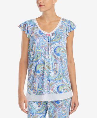Printed Chiffon-Hem Pajama Top