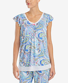 Ellen Tracy Printed Chiffon-Hem Pajama Top