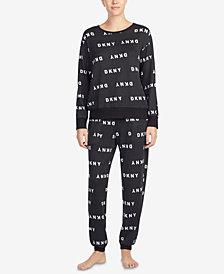 DKNY Logo Long-Sleeve Pajama Top & Knit Jogger Pants Sleep Separates