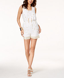 Thalia Sodi Embellished Lace-Up Romper, Created for Macy's