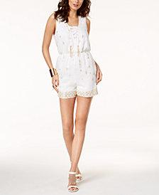 Thalia Sodi Embellished Lace-Up Romper, Created for Macy's