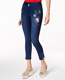 Thalia Sodi June Embroidered Ankle Jeans, Created for Macy's
