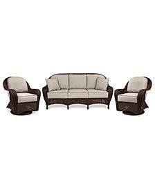 Monterey Outdoor Wicker 3-Pc. Seating Set (1 Sofa & 2 Swivel Chairs)- with Custom Sunbrella®, Created for Macy's
