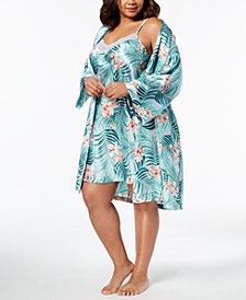 Thalia Sodi Plus Size Tropical-Print Chemise & Wrap, Created for Macy's