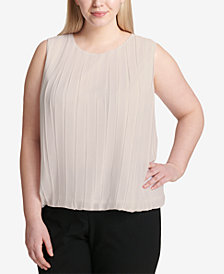 Calvin Klein Plus Size Pleated Bubble Top