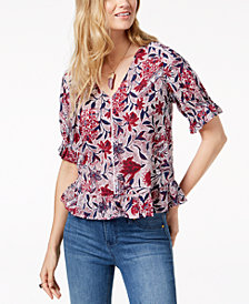 Lucky Brand Puff-Sleeve Print Top