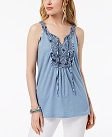 Style & Co Mixed-Media Sleeveless Top, Created for Macy's