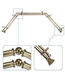"Rod Desyne Trumpet 13/16"" Bay Window Double Curtain Rod 78""-144"""
