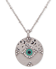 "lonna & lilly Silver-Tone Crystal Evil Eye Pendant Necklace, 28"" + 3"" extender"