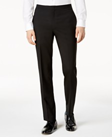 DKNY Men's Slim-Fit Black Tuxedo Suit Pants