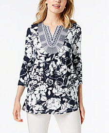 Charter Club Cotton Printed Embroidered Top, Created for Macy's