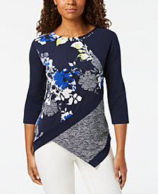 Alfred Dunner Royal Street Spliced Print Asymmetrical Top