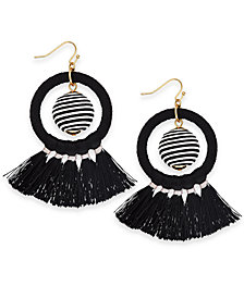 "I.N.C. Extra Large 3"" Gold-Tone Wrapped Ball & Tassel Drop Hoop Earrings, Created for Macy's"