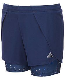 adidas Little Girls Layered-Look Mesh Shorts