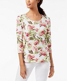 Karen Scott Petite Floral-Print Scoop-Neck Top, Created for Macy's