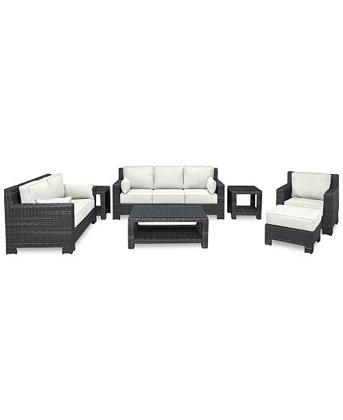 Furniture Viewport Outdoor Wicker 7-Pc. Seating Set (1 Sofa, 1 Loveseat, 1 Club Chair, 1 Ottoman, 1 Coffee Table & 2 End Tables)with Custom Sunbrella® Colors, Created for Macy's
