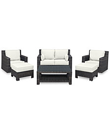 Viewport Outdoor Wicker 6-Pc. Seating Set (1 Loveseat, 2 Swivel Gliders, 2 Ottomans & 1 Coffee Table)with Custom Sunbrella® Colors, Created for Macy's