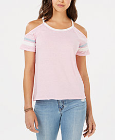 Hippie Rose Juniors' Cold-Shoulder Football T-Shirt