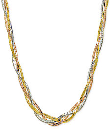 "Giani Bernini Tricolor Braided 18"" Collar Necklace in Sterling Silver, 18k Gold-Plate & 18k Rose Gold-Plate, Created for Macy's"