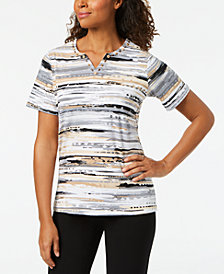 Alfred Dunner Striped Embellished Split-Neck Top