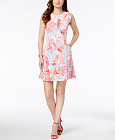 Vince Camuto Floral Printed A-Line Pocket Dress
