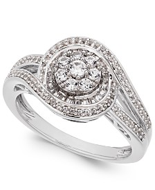 Diamond Cluster Circle Ring (1/2 ct. t.w.) in Sterling Silver