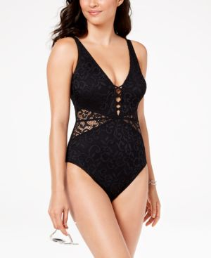PROFILE BY GOTTEX Shalimar D-Cup Lace V-Neck One-Piece Swimsuit in Black