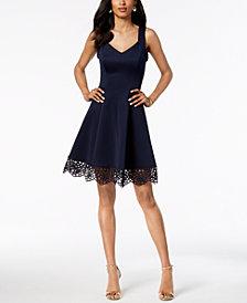 Donna Ricco Crochet-Hem Dress