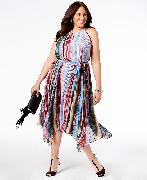 Dreams Pleated I Dress Macy's International Concepts N Ombre INC Size Plus Created C Midi for 6pFqx0SA
