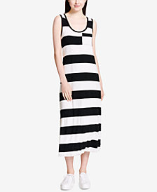 Calvin Klein Striped Patch-Pocket Maxi Dress