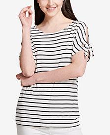Calvin Klein Striped Tie-Sleeve Top