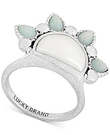 Lucky Brand Silver-Tone Stone & Imitation Pearl Sunrise Ring
