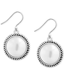 Lucky Brand Silver-Tone Imitation Pearl Drop Earrings