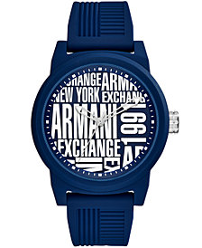 A|X Armani Exchange Men's Blue Silicone Strap Watch 46mm