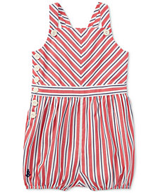 Ralph Lauren Striped Cotton Romper, Baby Girls