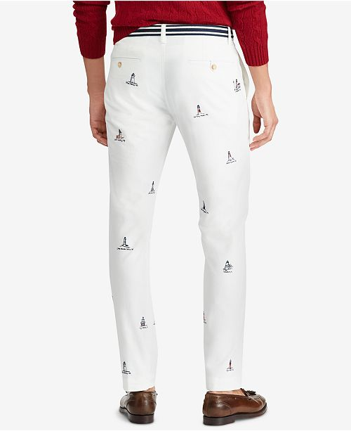 01ba5a4e ... Polo Ralph Lauren Men's Embroidered Lighthouse Stretch Straight-Fit  Pants ...