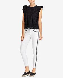 Lauren Ralph Lauren Petite Eyelet Cotton Top & Premier Skinny Crop Jeans