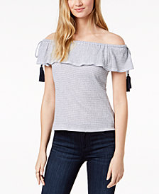Maison Jules Striped Off-The-Shoulder Tassel Top, Created for Macy's