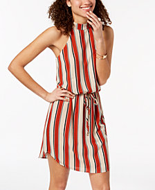 City Studios Juniors' Striped Mock-Neck Dress