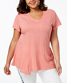 Style &  Co Plus Size Cotton Asymmetrical Flounce-Hem Top, Created for Macy's