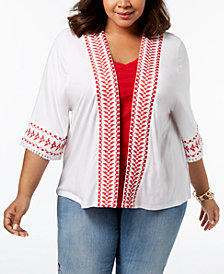 Style & Co Plus Size Embroidered Fringed Kimono, Created for Macy's
